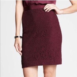 Ann Taylor burgundy lace skirt